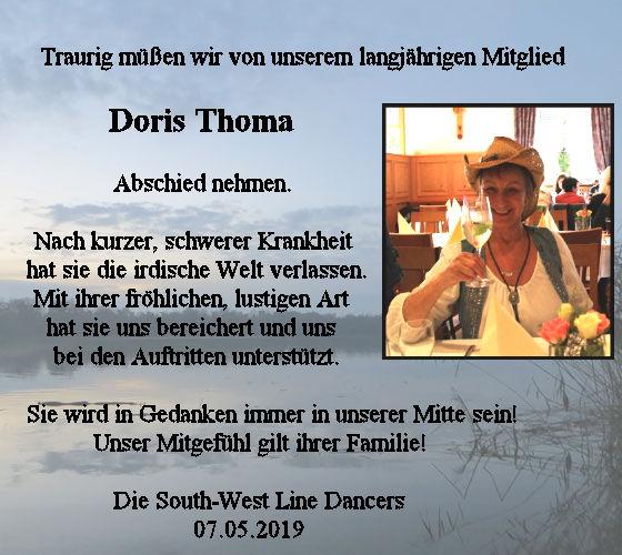 Traurig müssen wir Abschied von unserem langjährigen Mitglied Doris Thoma nehmen